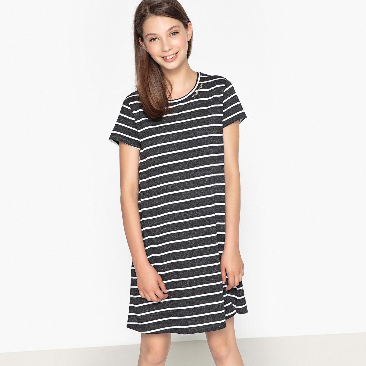 Платье-футболка в полоску, 10-16 лет