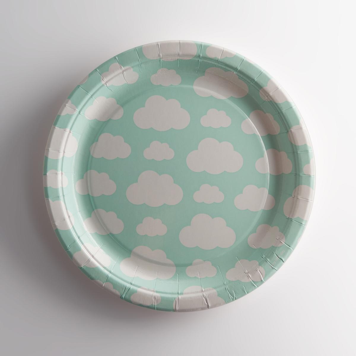 8 тарелок из картона с рисунком облако CIMELA