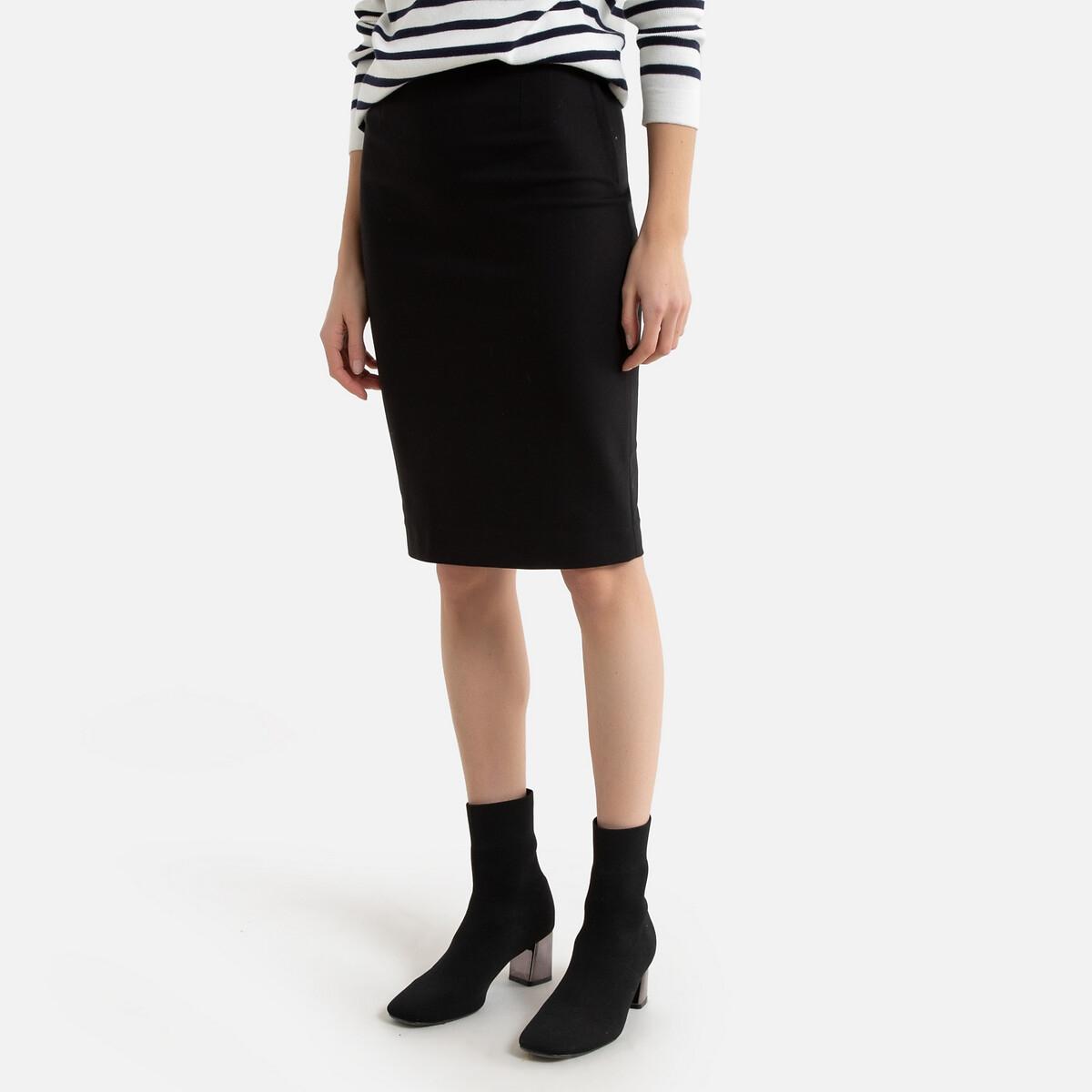 Юбка LaRedoute Облегающая 40 (FR) - 46 (RUS) черный платье laredoute из кружева oilway 40 fr 46 rus черный