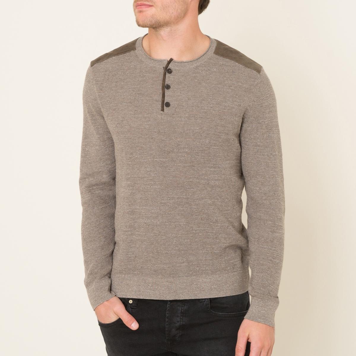 Пуловер с круглым вырезом и разрезом спередиСостав и описание   Материал : 100% хлопок   Вставки : 100% козья кожа   Марка : THE KOOPLES<br><br>Цвет: бежевый