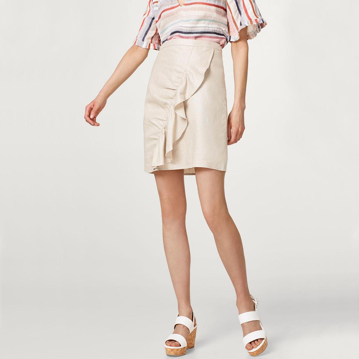 Falda de lino y viscosa