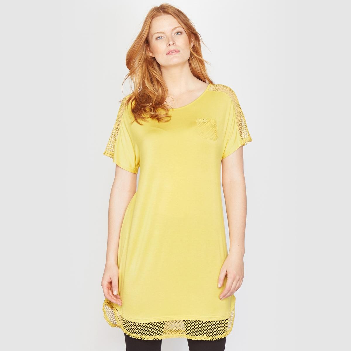Футболка длиннаяФутболка длинная . Невероятно женственная с трикотажным узором на плечах . 1 накладной нагрудный карман. Короткие рукава. Круглый вырез. Закругленный низ . Джерси 97% вискозы, 3% эластана . Длина 86 см.<br><br>Цвет: желтый<br>Размер: 42/44 (FR) - 48/50 (RUS)
