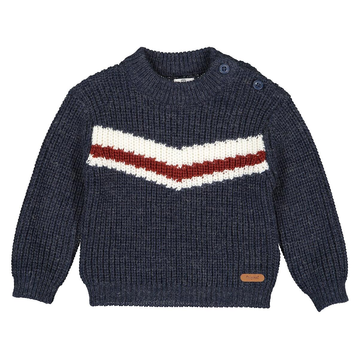 Фото - Пуловер LaRedoute С круглым вырезом из трикотажа крупной вязки 1 мес-4 года 1 мес. - 54 см синий пуловер laredoute крупной вязки s синий