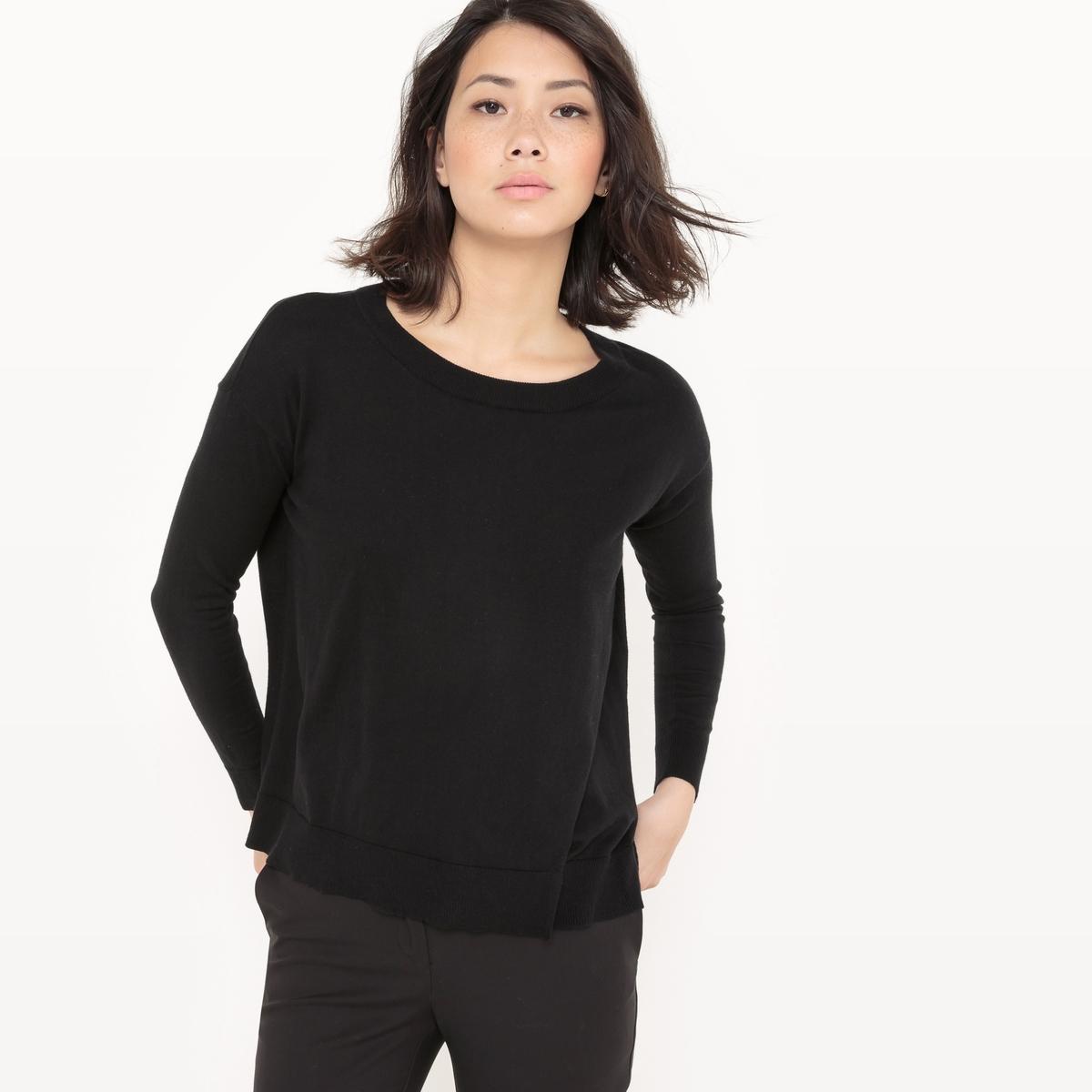Пуловер с круглым вырезом из хлопка/шелка