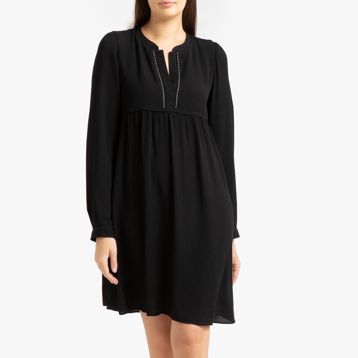 Платье La Redoute Короткое с длинными рукавами 38 (FR) - 44 (RUS) черный