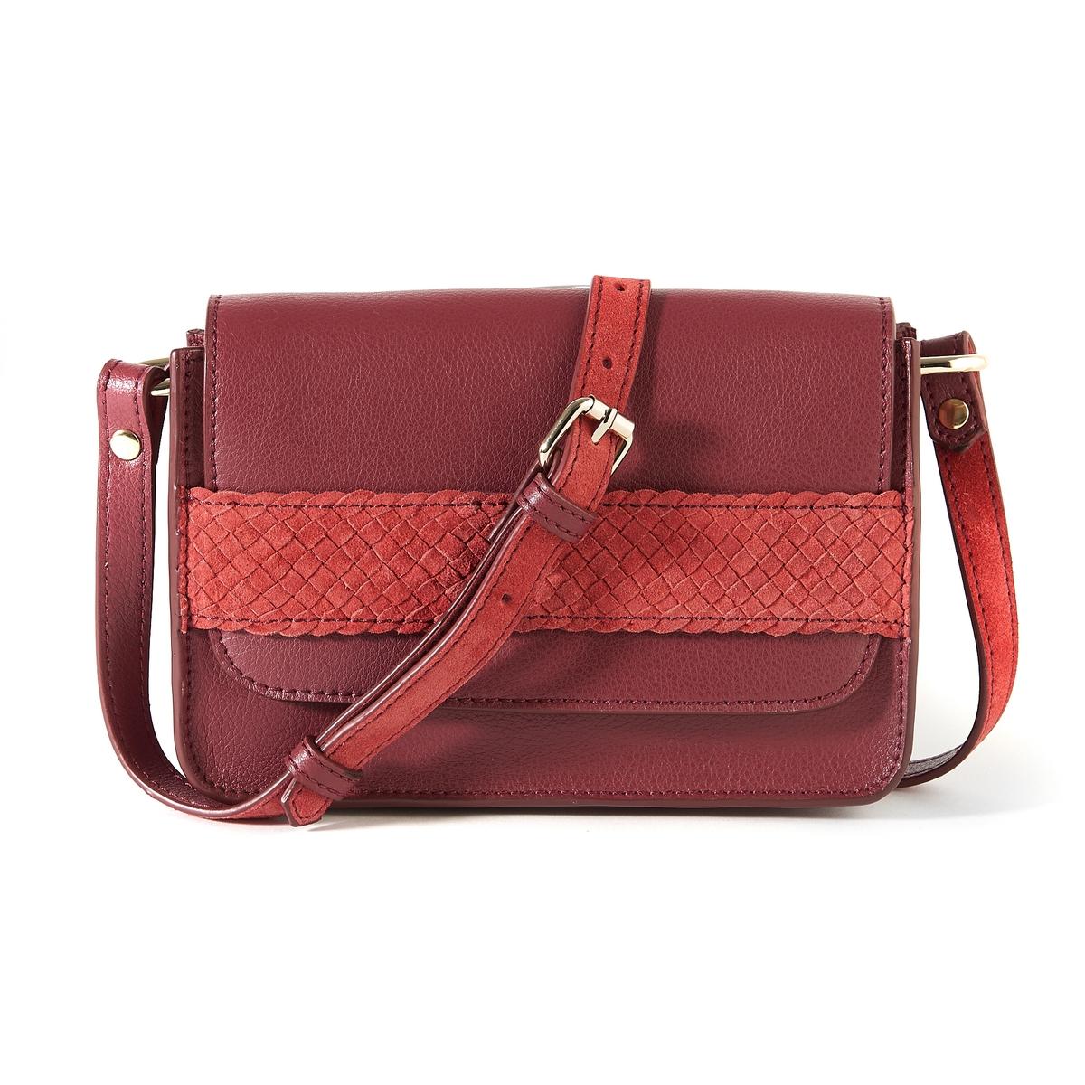 Клатч из кожиОписание:Замечательная сумка в форме клатча из кожи и невыделанной кожи : идеальная элегантная сумка для самого необходимого !Состав и описание :Материал верха  :  невыделанная кожа и яловичная кожа           подкладка : текстиль Размеры : Ш20 x В15 x Г5 смЗастежка : на магнитную кнопку Внутренние карманы : 1 карман на молнии и 1 карман для мобильного телефонаРегулируемый плечевой ременьНосить : на плече или в руках<br><br>Цвет: бордовый,черный