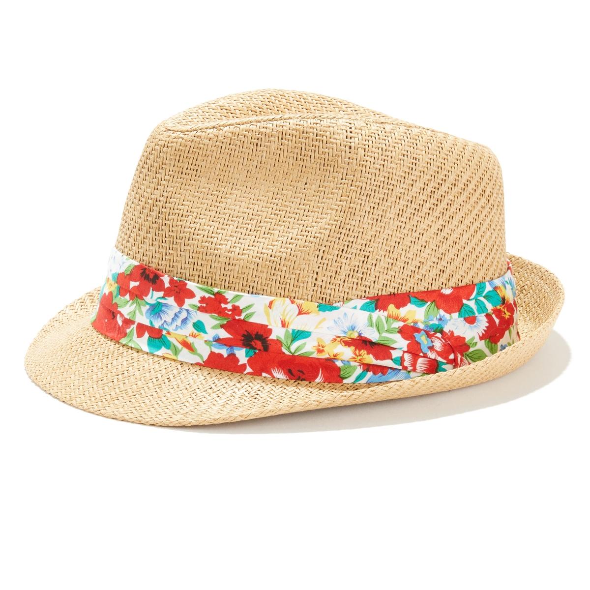 Шляпа La Redoute С тесьмой с цветочным рисунком UNI бежевый ковер la redoute горизонтального плетения с рисунком цементная плитка iswik 120 x 170 см бежевый