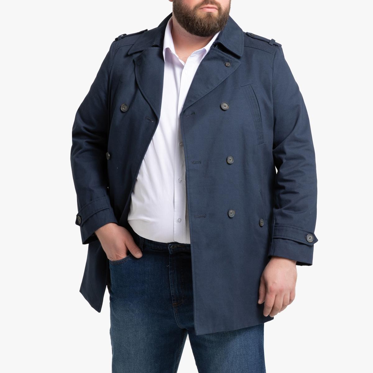 Тренч La Redoute Короткий хлопка 66/68 синий цена 2017