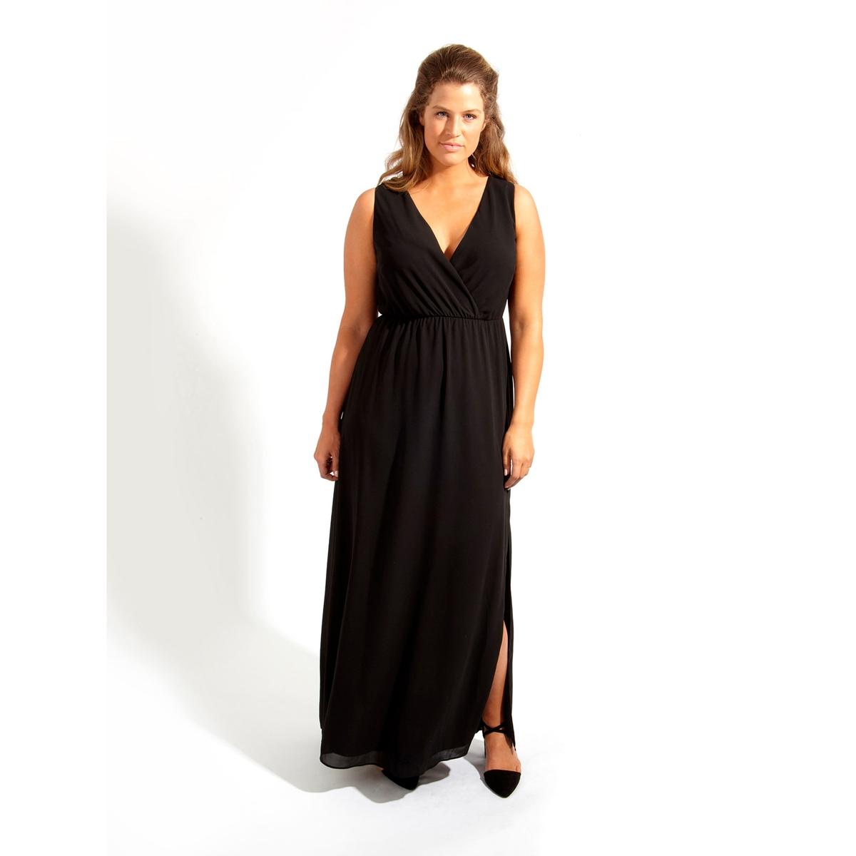 ПлатьеПлатье длинное KOKO BY KOKO. Симпатичное платье макси без рукавов с разрезом до колена . 100% полиэстер<br><br>Цвет: черный<br>Размер: 50/52 (FR) - 56/58 (RUS)