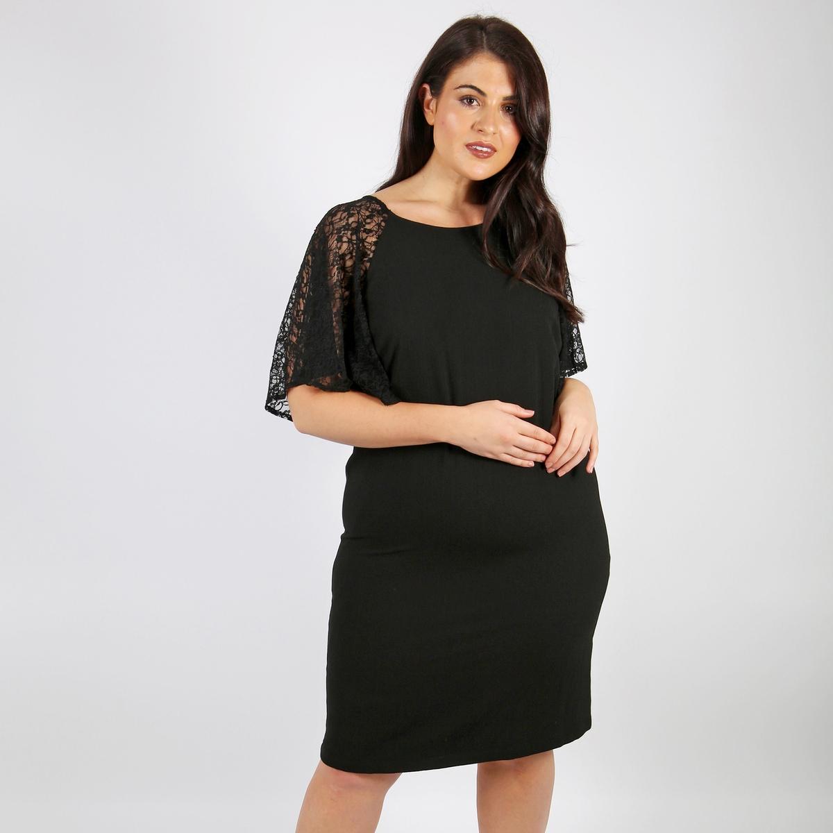 Платье прямое средней длины, однотонное, с короткими рукавами от LOVEDROBE