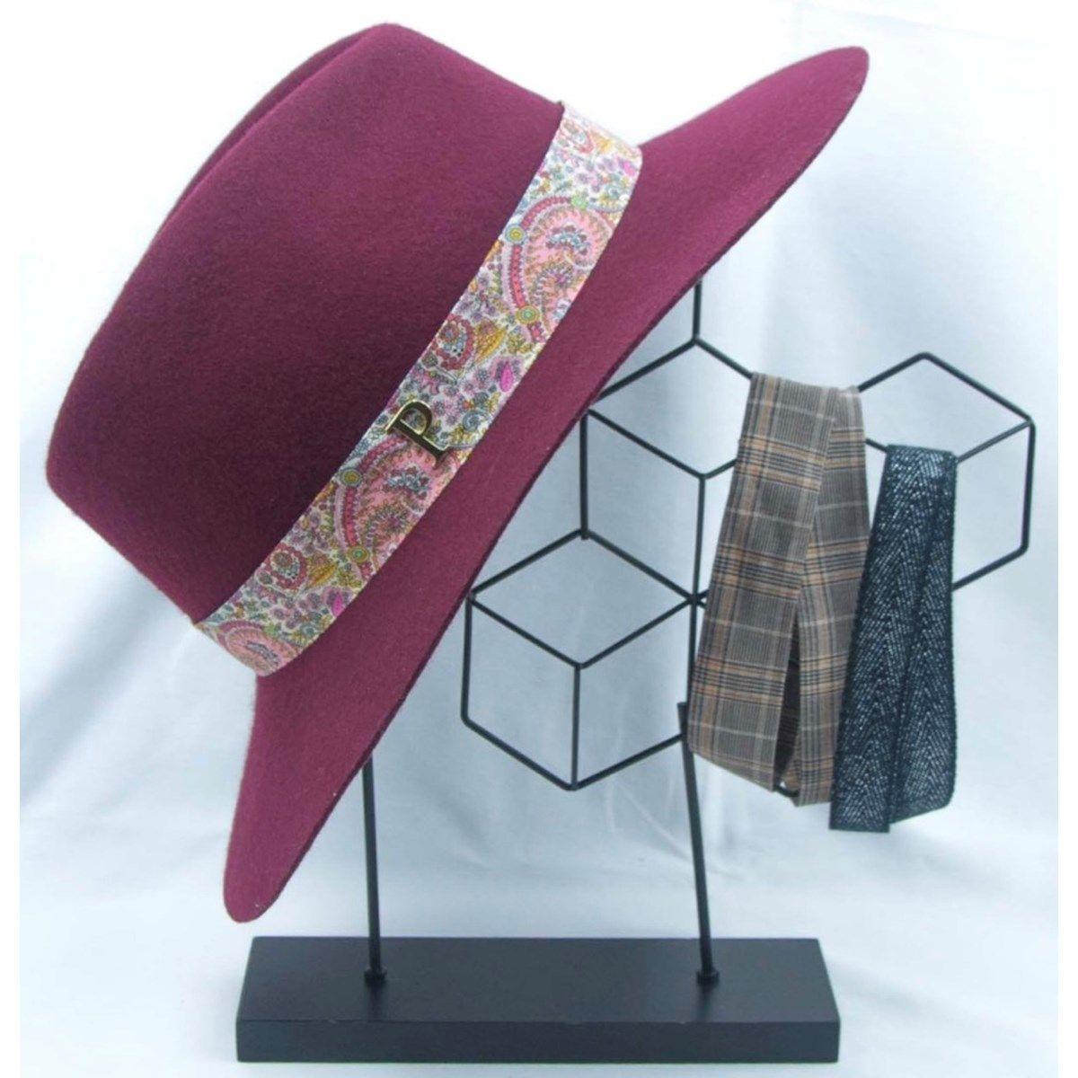 Lot chapeau feutre Holly bordeaux et 3 rubans interchangeables