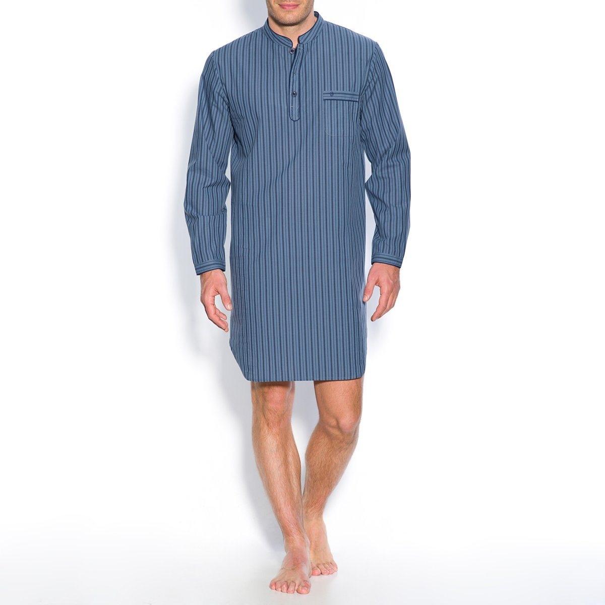 Пижама-рубашкаПоплин в полоску, 100% хлопка. Длинные рукава. Воротник-стойка с застежкой на 3 пуговицы. 1 нагрудный карман с вышивкой. Длина 100 см.<br><br>Цвет: синий в полоску,шамбрэ<br>Размер: M