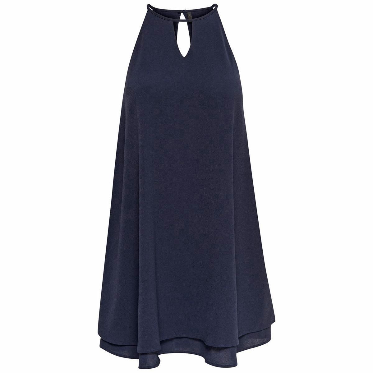 Платье без рукавов, длина до колен, однотонноеМатериал : 3% эластана, 97% полиэстера  Длина рукава : без рукавов  Форма воротника : круглый вырез Покрой платья : расклешенное платье Рисунок : однотонная модель   Длина платья : до колен<br><br>Цвет: синий морской