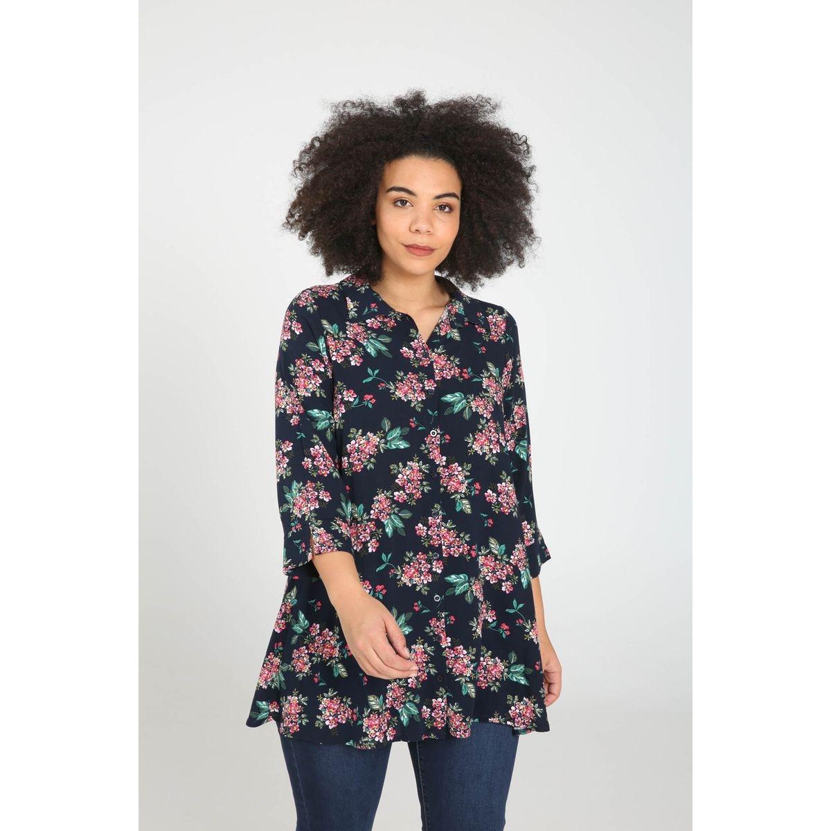 Chemise longue imprimé fleuri col polo, chemise manches 3/4