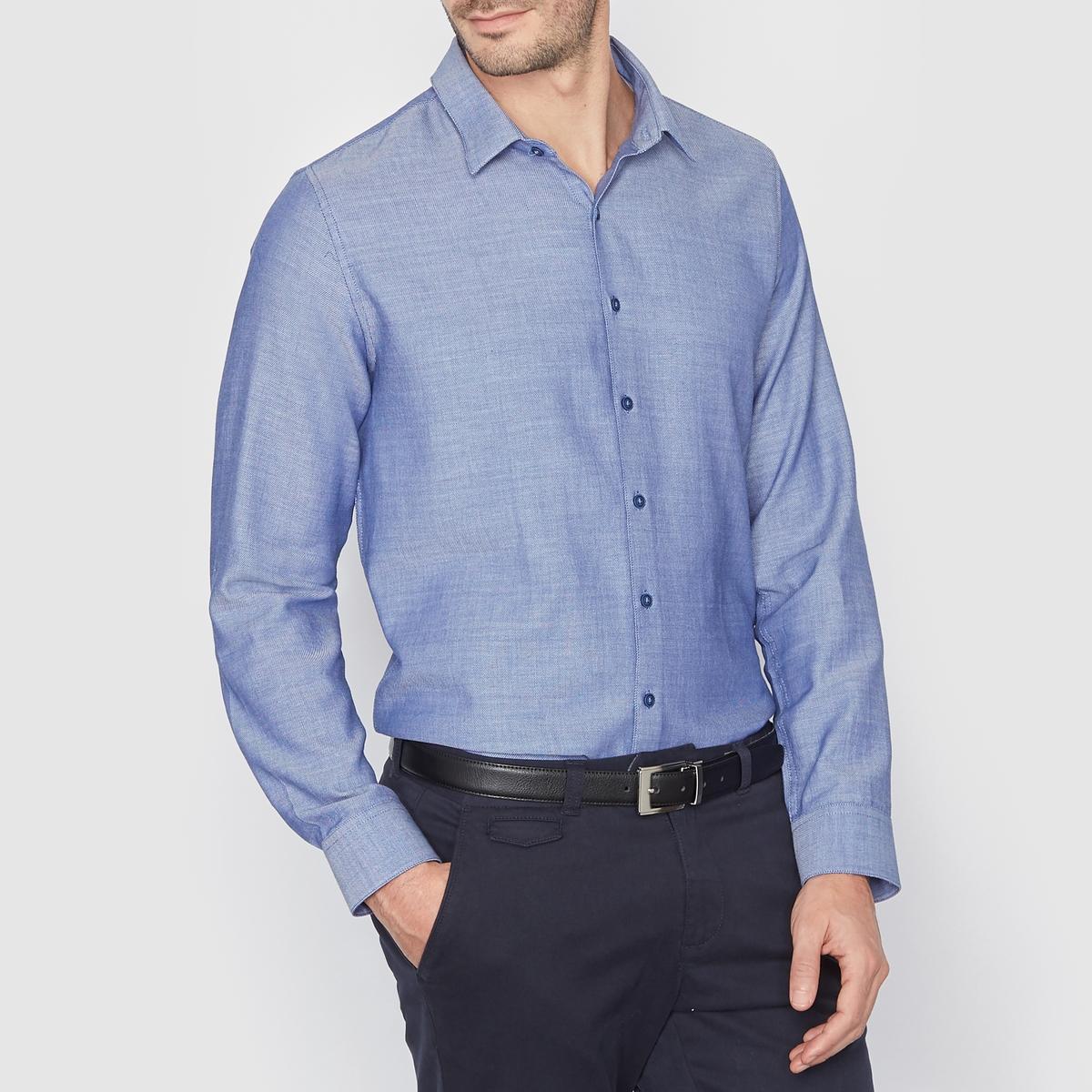 Рубашка узкого покрояРубашка в стиле сити, узкого покроя воротник со свободными уголками. Длина 77 см. Блузка, 100% хлопка.<br><br>Цвет: синий<br>Размер: 37/38