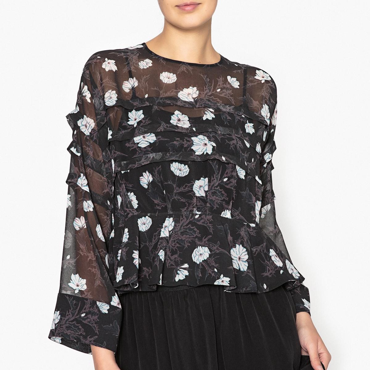 Блузка с рисунком и накладными воланами скатерть новогодняя сказка 140х220 см 1022492