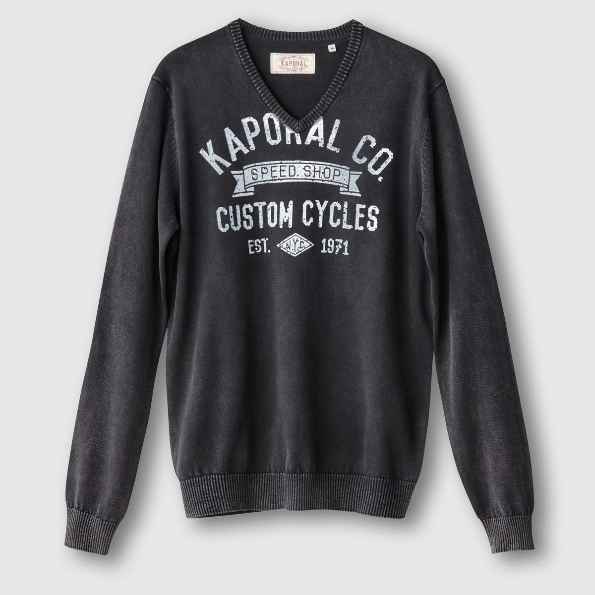 Пуловер с V-образным вырезомСостав и описание: :Материал : 100% хлопка.Марка :  KAPORAL<br><br>Цвет: черный<br>Размер: L