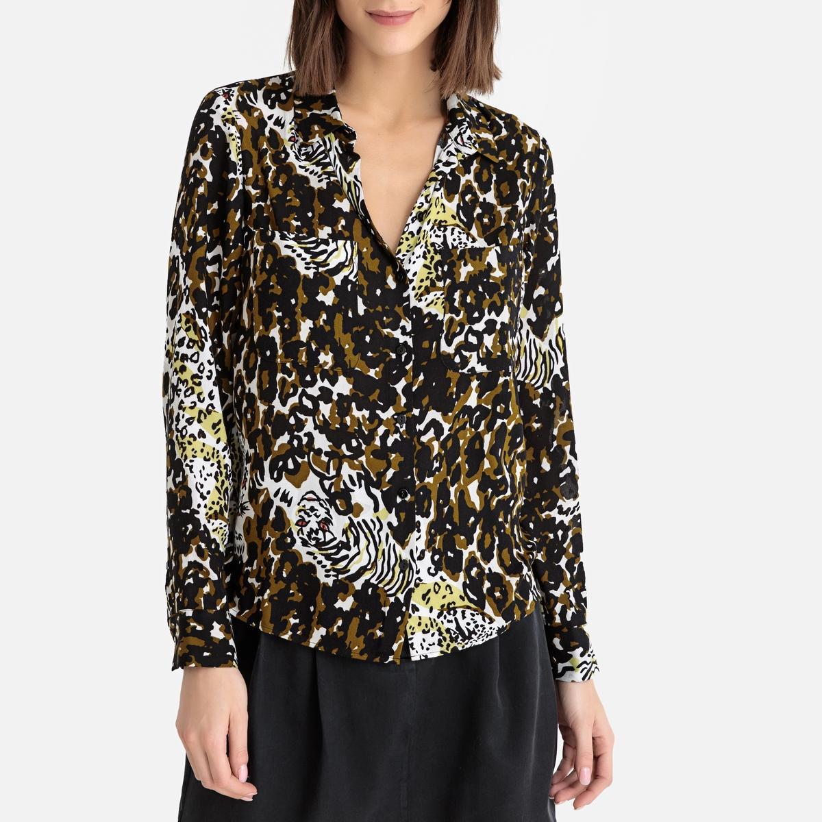 цена Блузка La Redoute С рисунком и длинными рукавами M каштановый онлайн в 2017 году