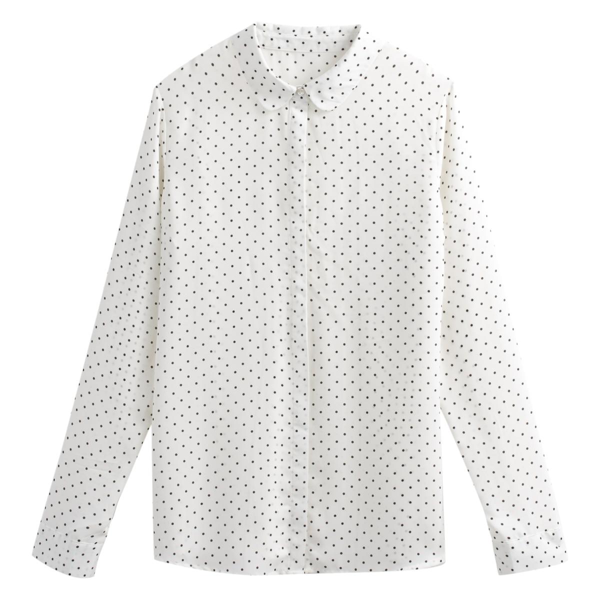 Camisa estampada de lunares, de manga larga