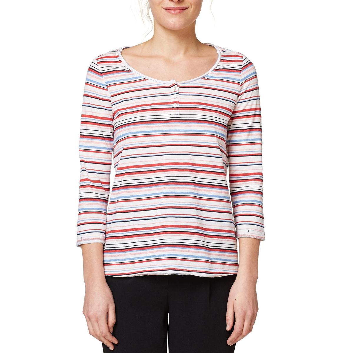 Camiseta a rayas, cuello redondo con botones, 100% algodón