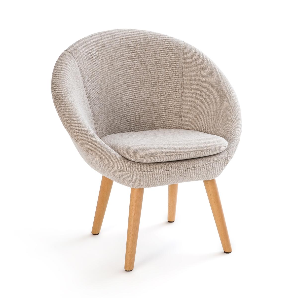 Кресло LaRedoute Круглое с ножками из массива бука Jimi единый размер бежевый