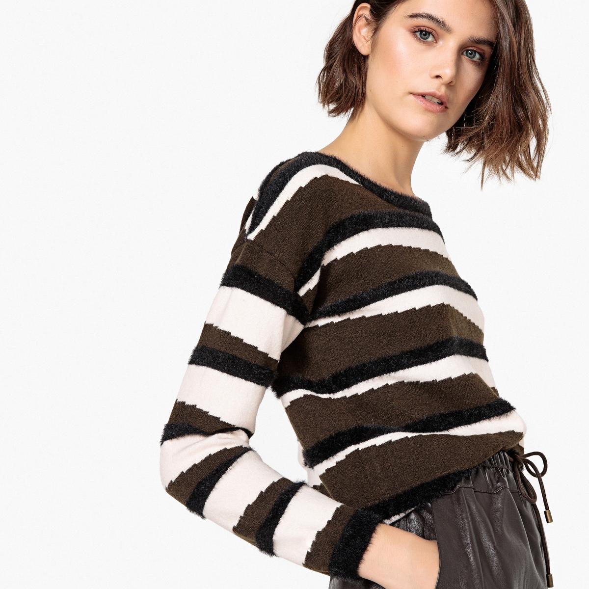 Sweter w paski z dekoltem łódkowym