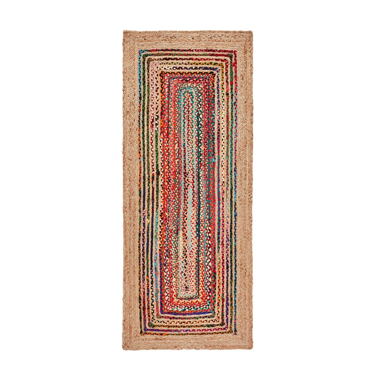 Фото - Ковер LaRedoute Цветной из джута и хлопка Jaco 80 x 200 см разноцветный ковер laredoute из джута и хлопка пастельных тонов bazyli 120 x 180 см разноцветный