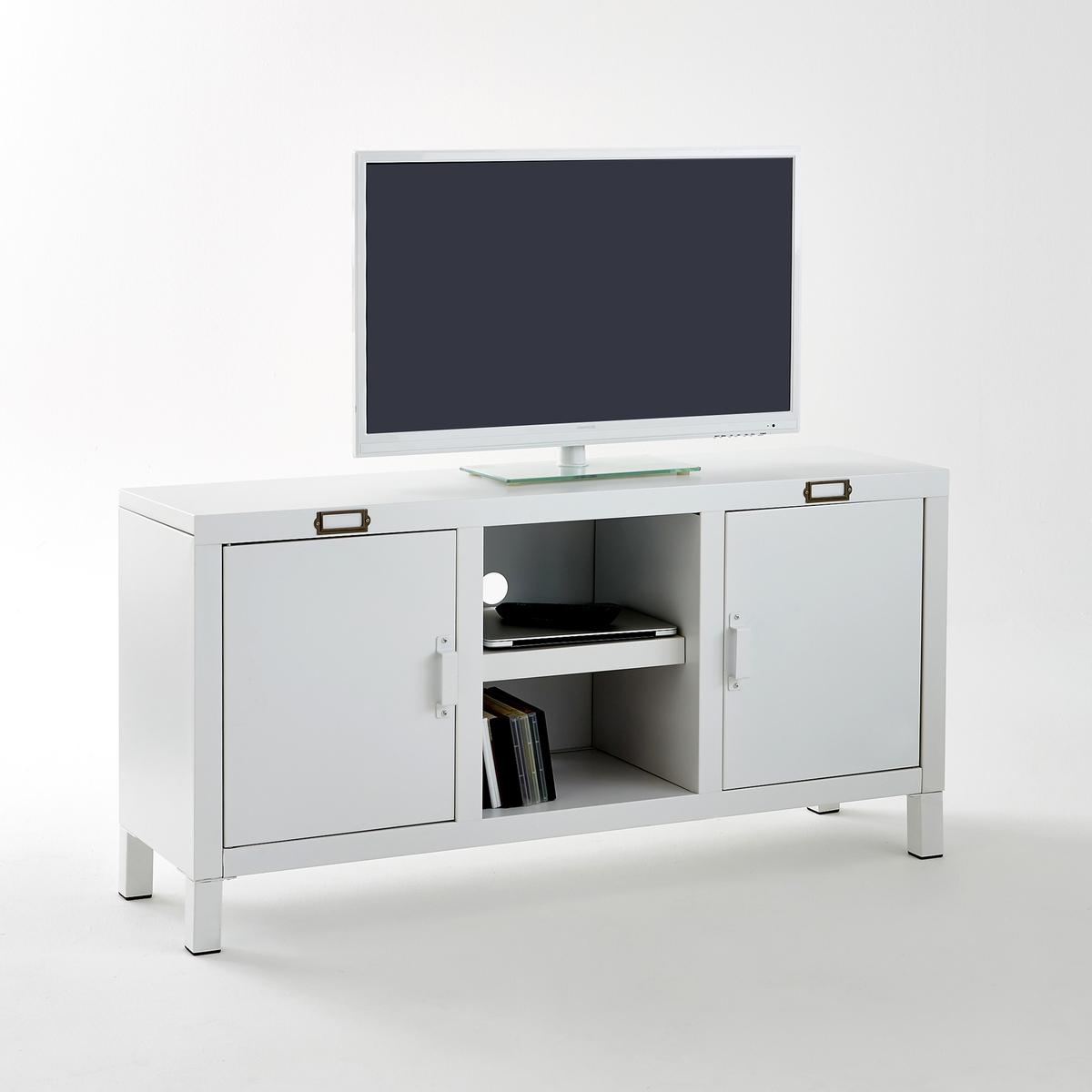 Тумба для ТВ, Hibaоригинальная тумба для TV Hiba из стали..                                                         Описание мебели Hiba  :2 дверки с отделением для журналов  2 ниши  2 отверстия для кабеля,  1 съемная столешница за каждой дверкой  . Характеристики мебели Hiba  :Сталь с эпоксидным матовым покрытием,  Экран до 50 дюймов (127 см)  Максимальный. выдерживаемый вес: 40 кг  Откройте для себя всю коллекцию  Hiba на сайте laredoute.ru.Размеры мебели Hiba:Общие :Ширина : 120 см.Высота : 60 смГлубина : 35 см.Центральные ниши:34,5 x 15 x 33 см Размеры упаковки :1 упаковка131 x 14 x 51 см 22,65 кгДоставка :Мебель TV Hiba продается готовой к сборке. Доставка до квартиры!Внимание ! Убедитесь, что товар возможно доставить на дом, учитывая его габариты (проходит в двери, по лестницам, в лифты).<br><br>Цвет: белый
