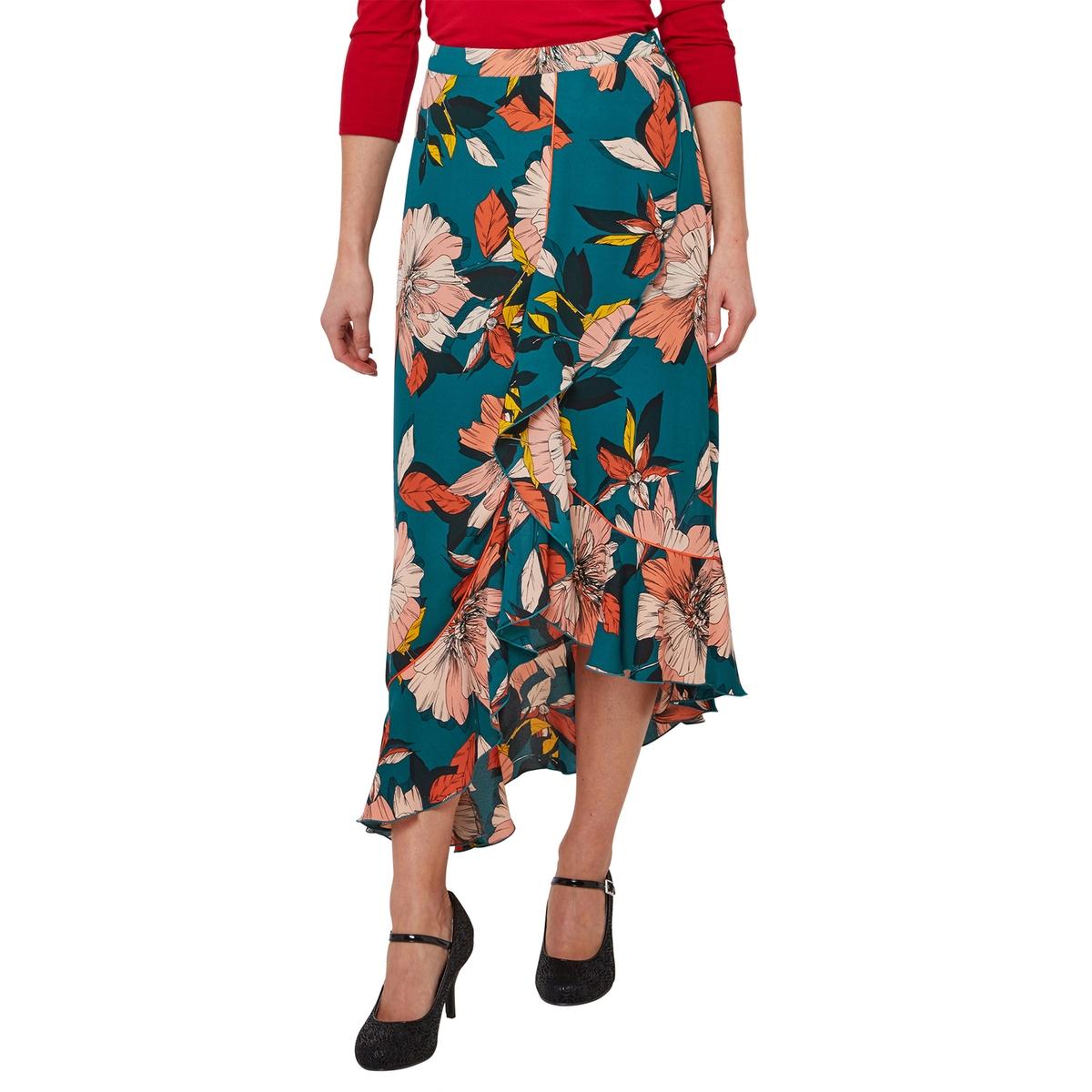 цена Юбка La Redoute Асимметричная с цветочным рисунком и воланами 38 (FR) - 44 (RUS) розовый онлайн в 2017 году