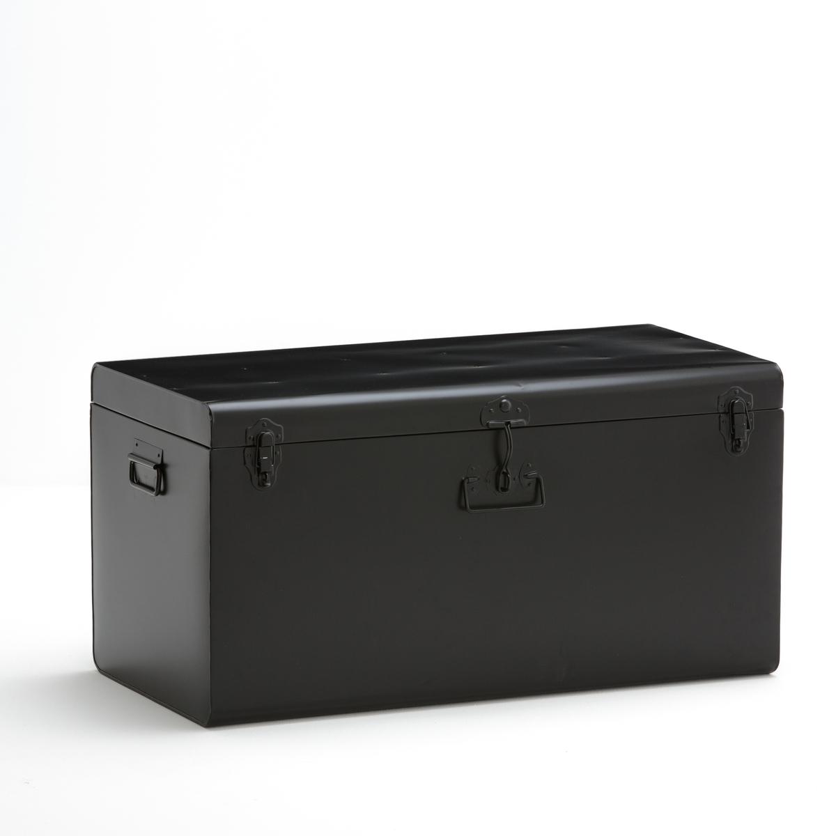Сундук металлический DeniseВ стиле старых дорожных чемоданов, этот симпатичный металлический сундук идеален для хранения журналов, фотографий, одежды    Из оцинкованного металла. 2 ручки по бокам, 1 спереди.Закрывается на 3 защелки спереди. Размеры. Ш.80 x В.40 x Г.40 см.<br><br>Цвет: серый,черный