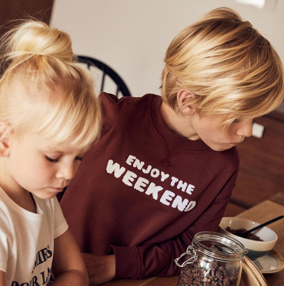 Crew Neck Sweatshirt With Bouclé Slogan In Cotton Mix 3 14 Years