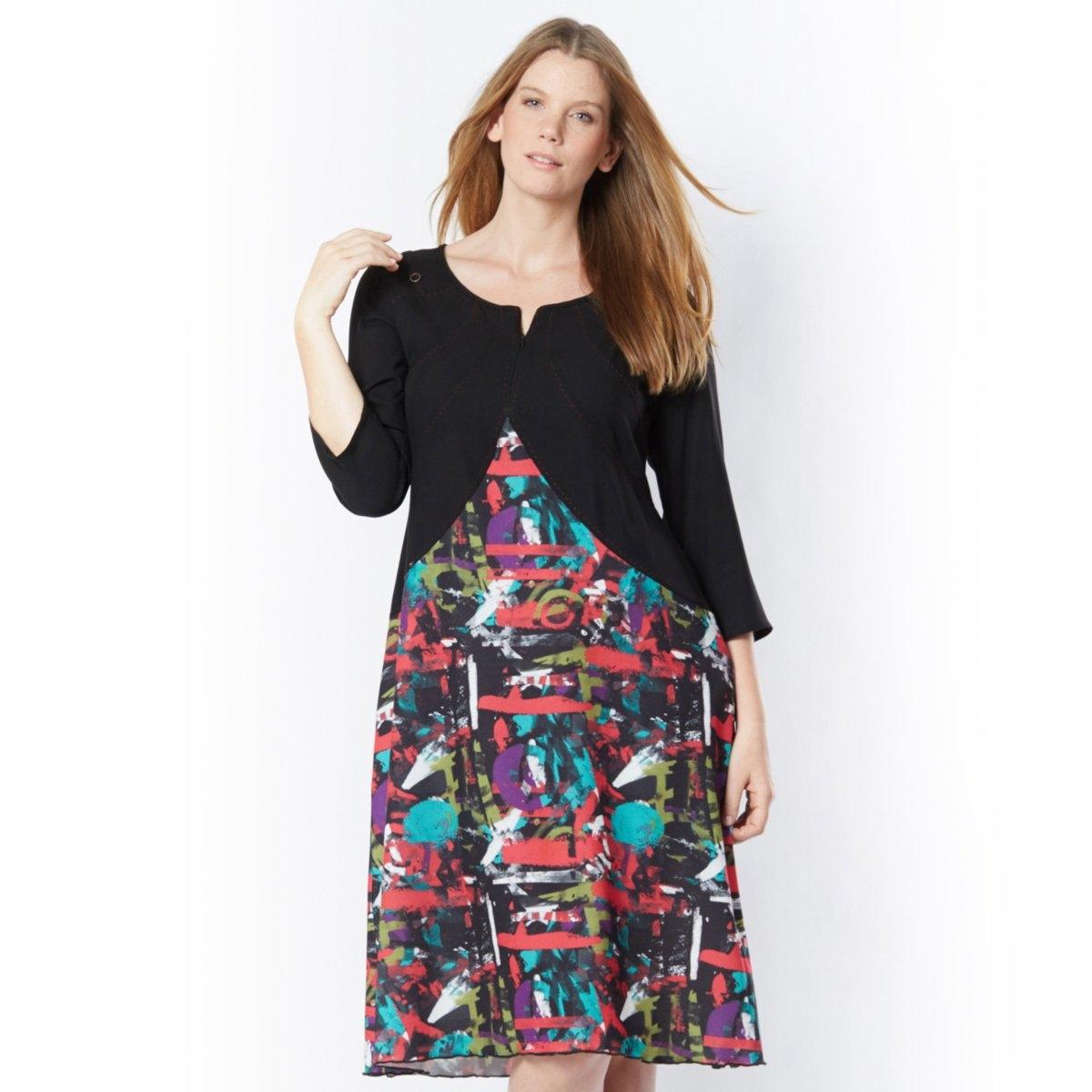 Платье длинноеДва материала, разноцветный рисунок, розовая строчка… Рукава 3/4. Молния на вырезе. 100% полиэстера. Подкладка из полиэстера. Длина 110 см.<br><br>Цвет: рисунок граффити<br>Размер: 56 (FR) - 62 (RUS)