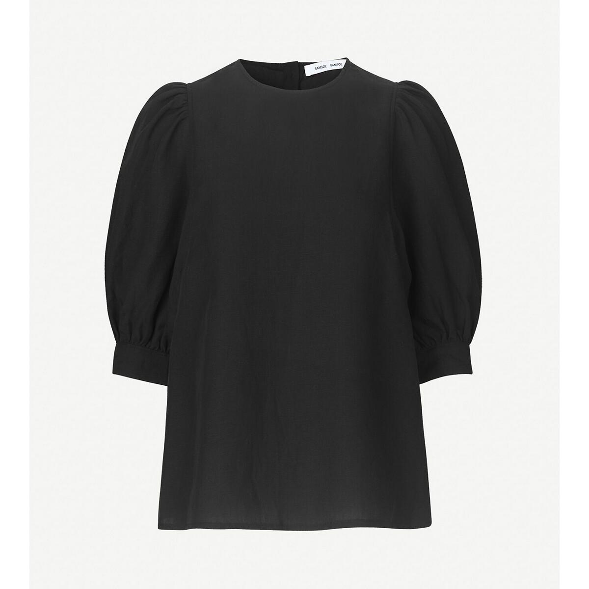 Блузка LaRedoute С круглым вырезом рукава 34 с напуском L черный