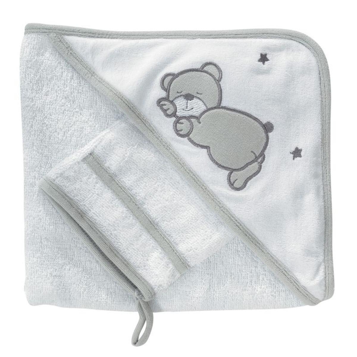 Cape de bain bébé - Avec gant de toilette  Ourson