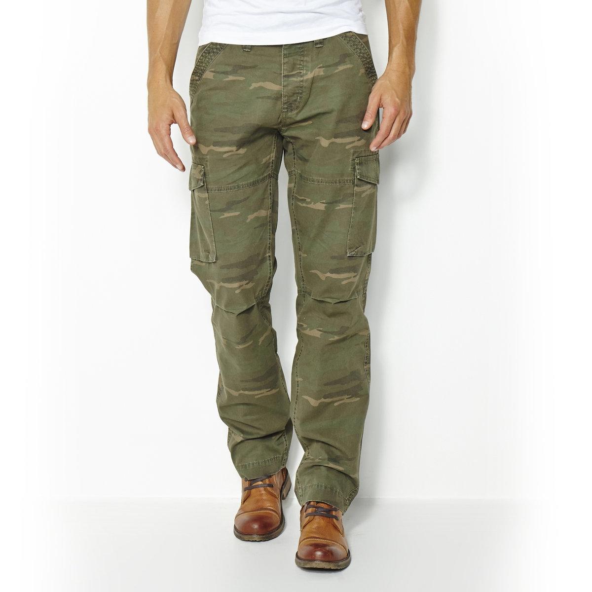 Pantaloni cargo fantasia mimetica puro cotone
