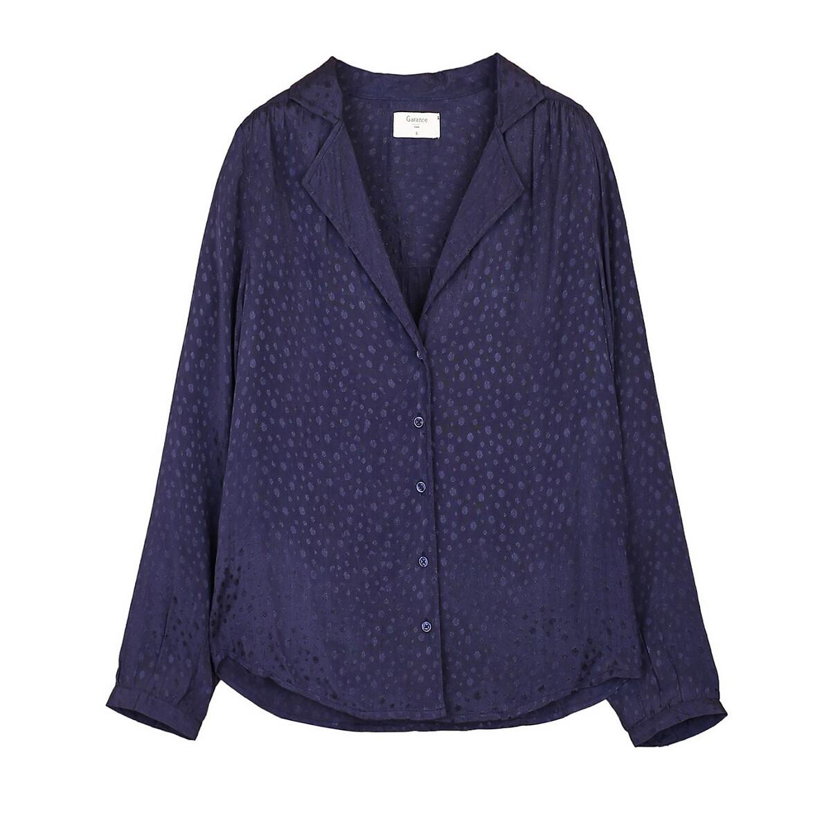 Блузка La Redoute Из струящейся ткани с длинными рукавами L синий блуза la redoute с рисунком и длинными рукавами s синий