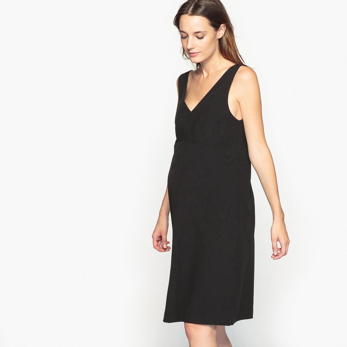 Платье с V-образным вырезом спереди и сзади для периода беременностиДетали •  Форма : прямая  •  Длина до колен •  Без рукавов     •   V-образный вырезСостав и уход •  19% вискозы, 7% эластана, 74% полиэстера •  Подкладка  : 100% полиэстер •  Температура стирки 30° на деликатном режиме   •  Сухая чистка и отбеливание запрещены    •  Не использовать барабанную сушку   •  Низкая температура глажки  Адаптировано для периода беременности<br><br>Цвет: черный