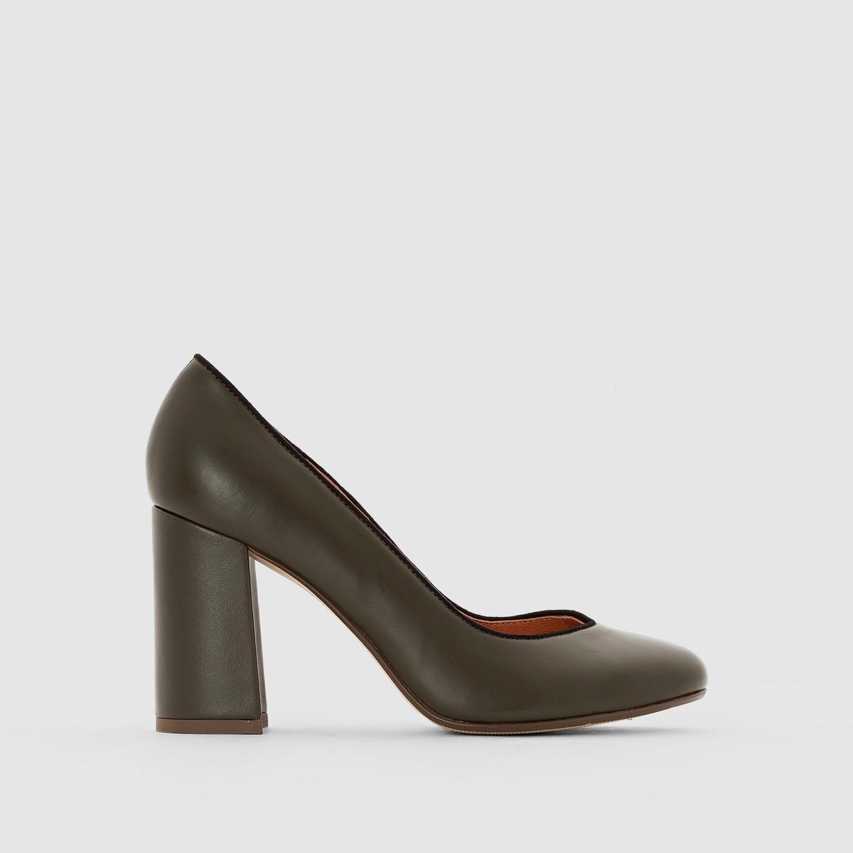 Туфли-лодочки кожаные на широком каблуке<br><br>Цвет: хаки,черный<br>Размер: 38.39.36