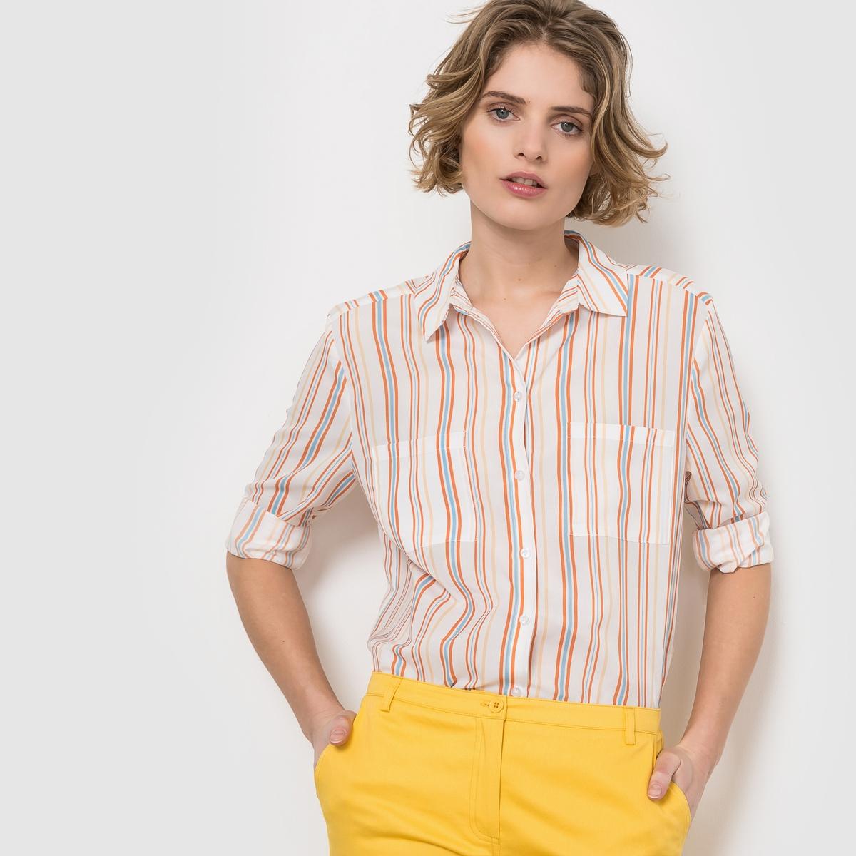 Рубашка с рисунком в полоску, с длинными рукавами