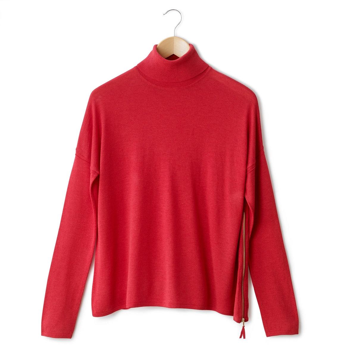 Пуловер с высоким воротником и длинными рукавамиПуловер с высоким воротником и длинными рукавами. 50% вискозы, 40% акрила, 10% мериносовой шерсти. Края связаны в рубчик. Застежка на молнию сбоку. Длина 62 см.<br><br>Цвет: розовый