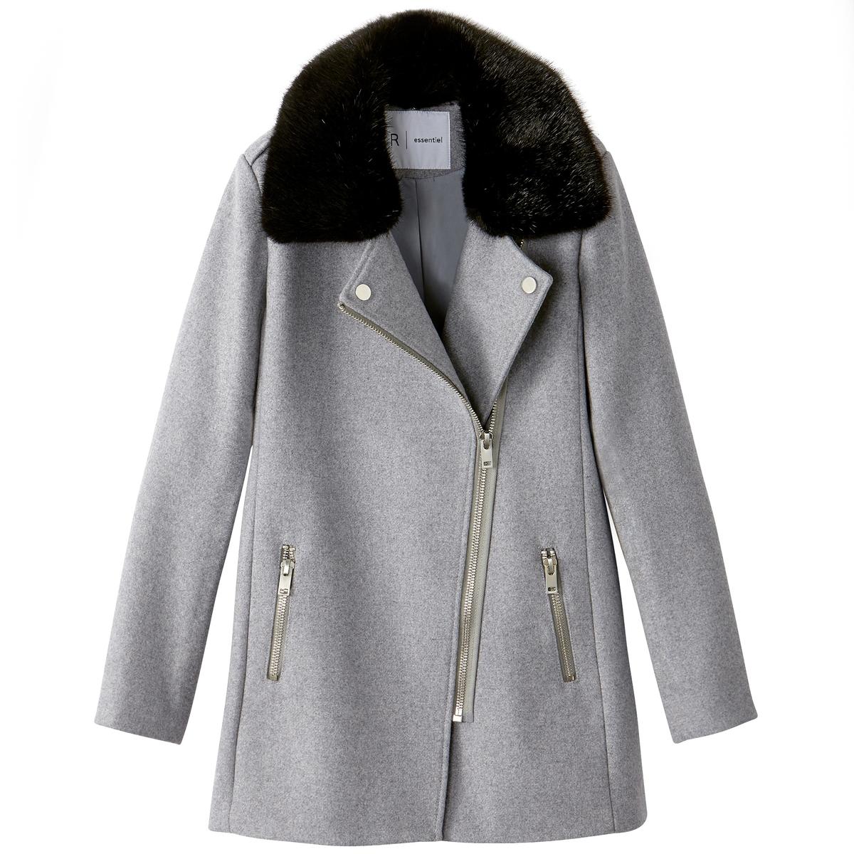 Пальто с воротником из синтетического меха