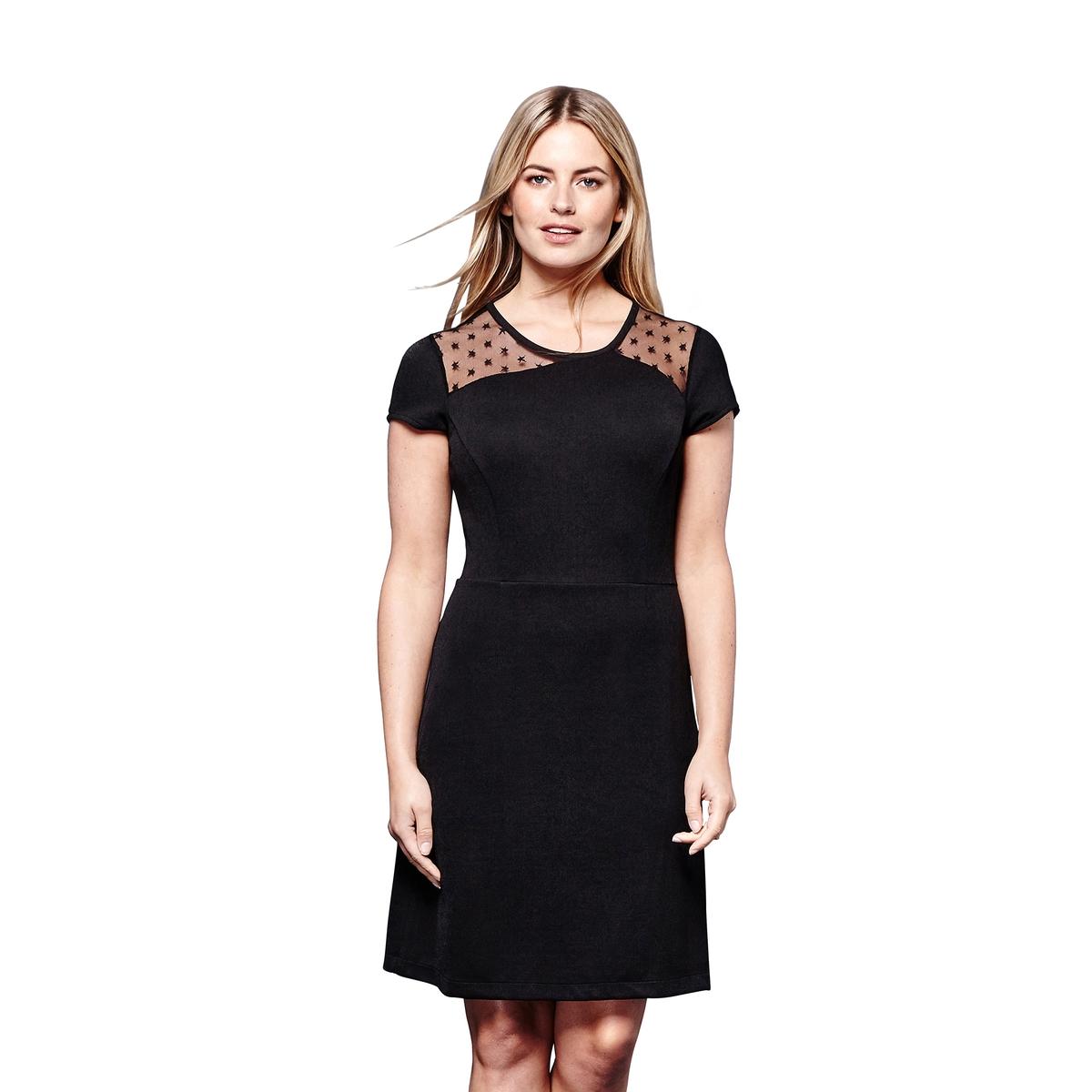 Платье короткое прямое однотонное, с короткими рукавами