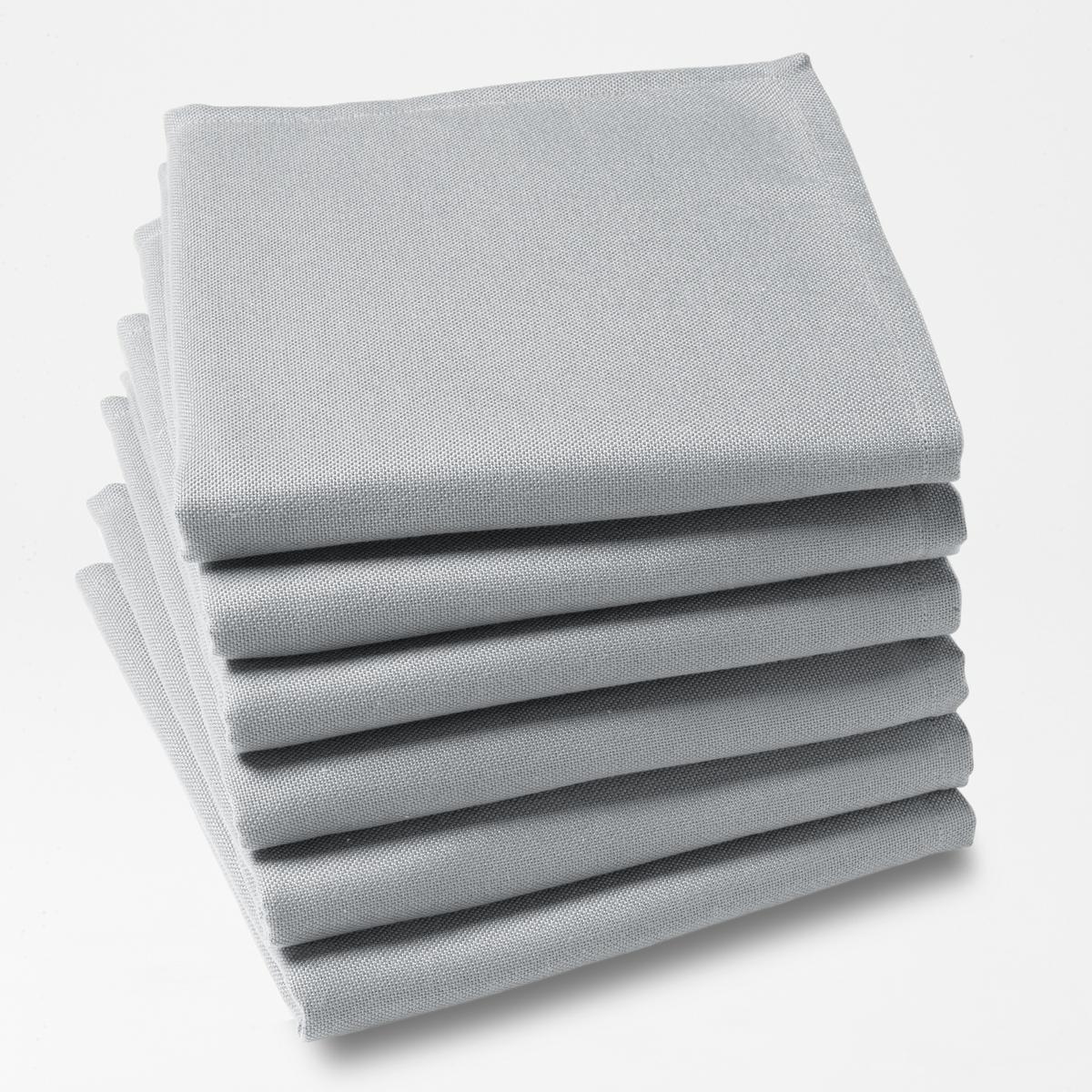 6 салфетокКомплект из 6 однотонных столовых салфеток из 100% полиэстера с покрытием от пятен. Легкость ухода, глажение не требуется.Характеристики столовых салфеток:100% полиэстера.Покрытие от пятен.Подшитые края. Стирать при 40°.Размер. 45 x 45 см.Знак Oeko-Tex® гарантирует, что товары протестированы и сертифицированы, не содержат вредных веществ, которые могли бы нанести вред здоровью.<br><br>Цвет: светло-серый,серый<br>Размер: 45 x 45  см.45 x 45  см