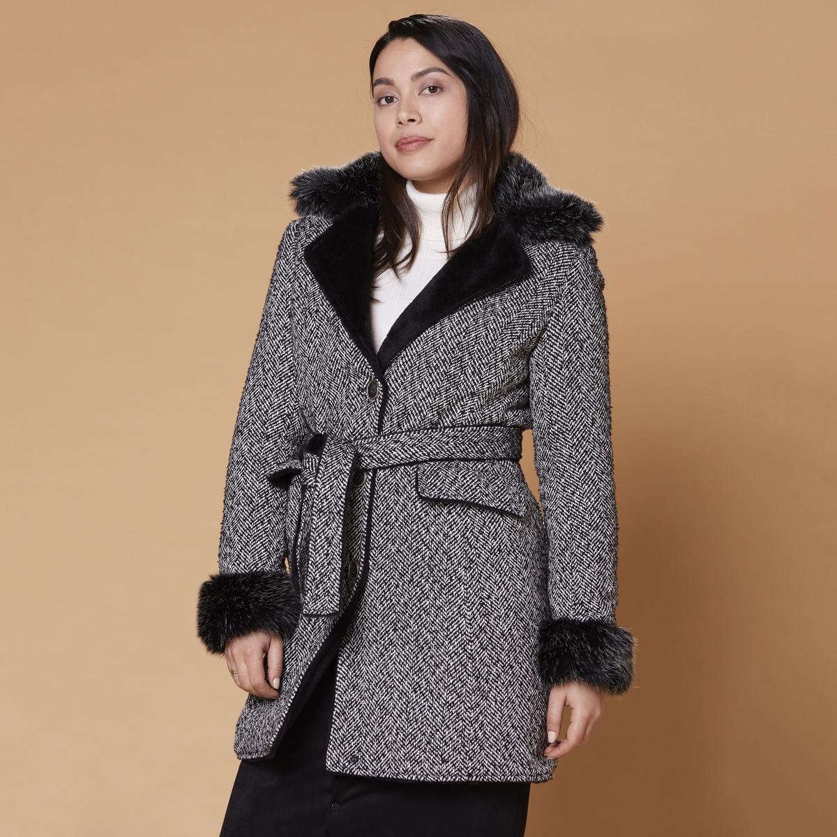 все цены на Пальто La Redoute Средней длины с застежкой на пуговицы и поясом S черный онлайн