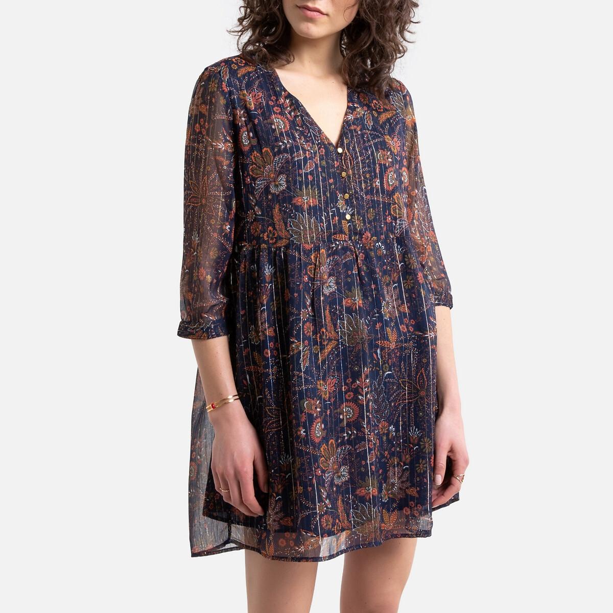 цена на Платье La Redoute С цветочным принтом рукава V-образный вырез XL синий