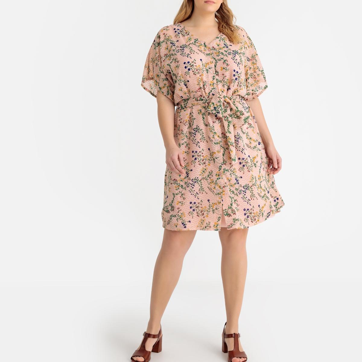 Платье-миди La Redoute Прямое с цветочным рисунком 48 (FR) - 54 (RUS) зеленый платье прямое с цветочным рисунком и контрастной полосой сзади