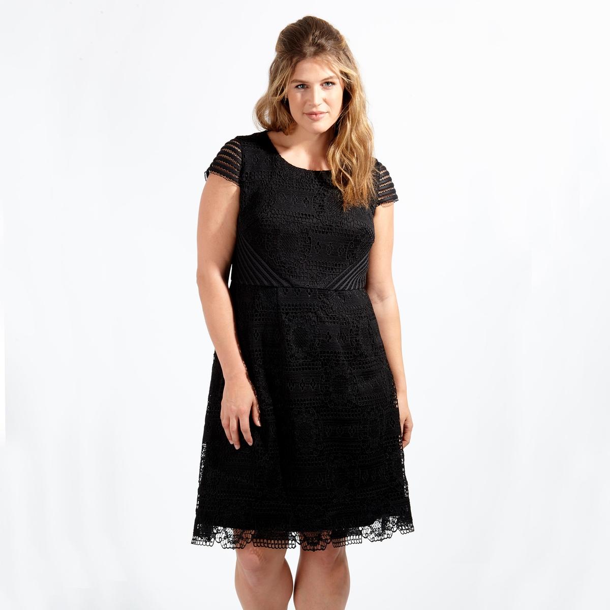 ПлатьеПлатье с короткими рукавами LOVEDROBE. 100% полиэстер. Застежка на молнию сзади . до колен<br><br>Цвет: черный<br>Размер: 48 (FR) - 54 (RUS)