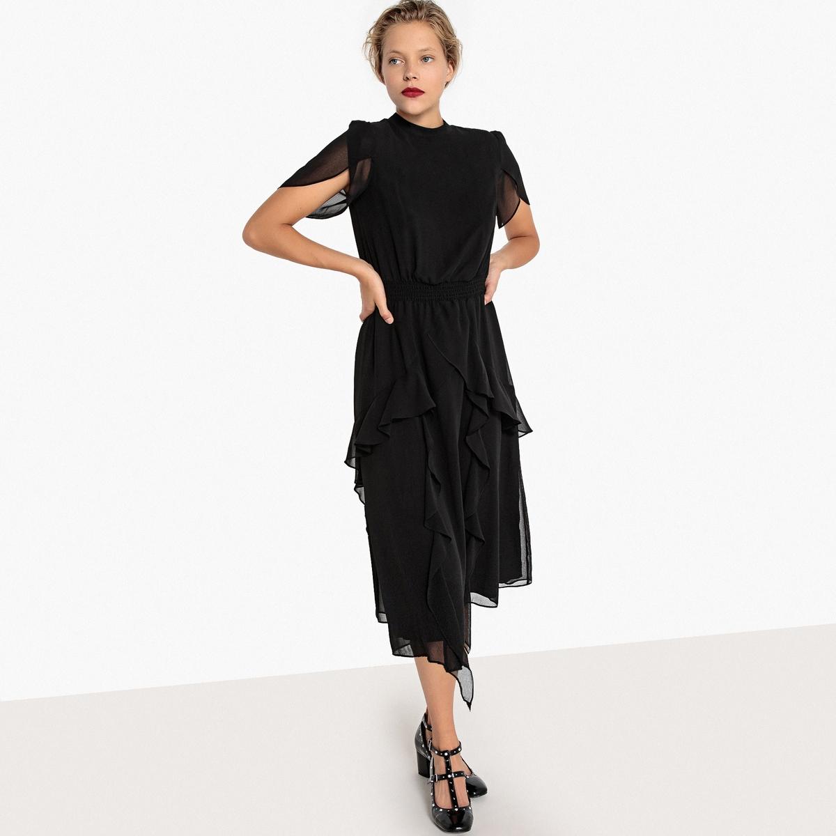Платье La Redoute Расклешенное с воланами и эластичным поясом 34 (FR) - 40 (RUS) черный цена