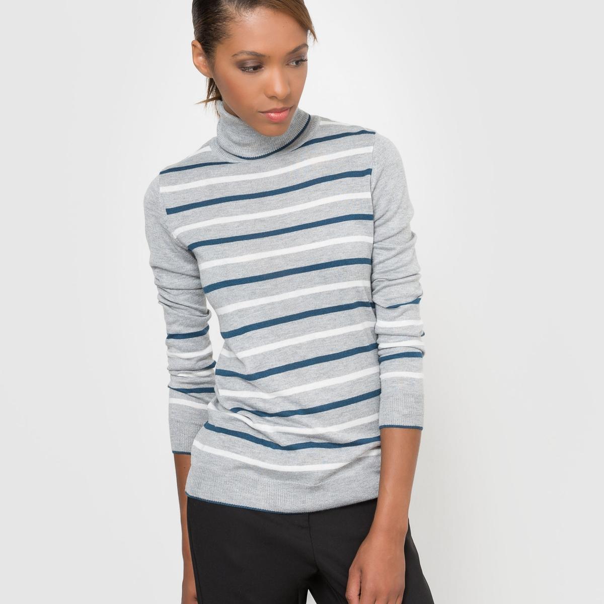 Пуловер в полоску с воротником  из смешанной ткани с шерстью