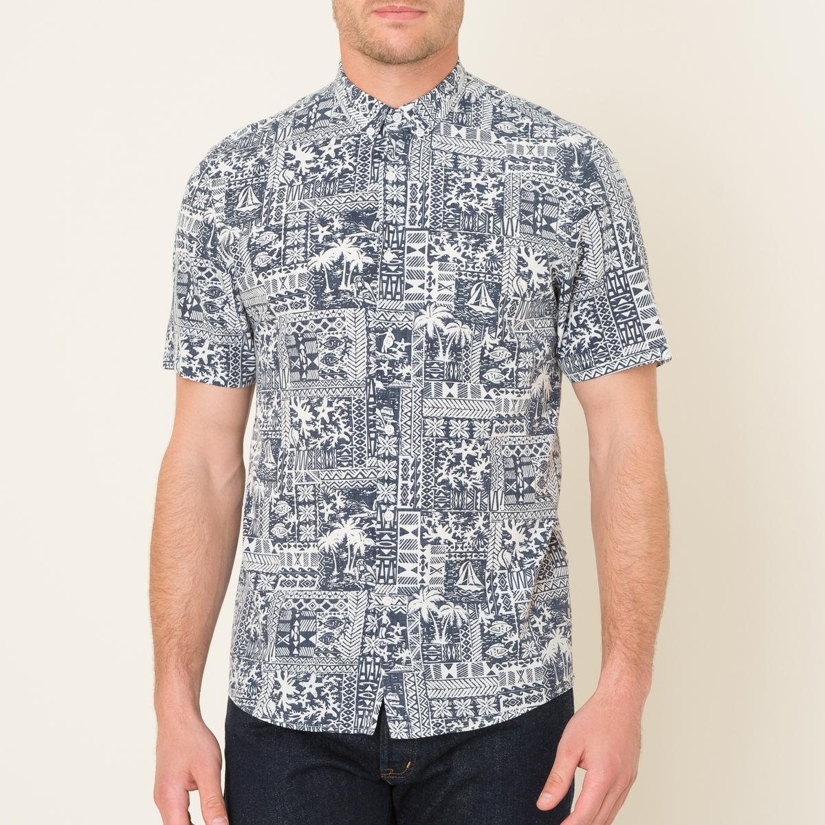 Рубашка с короткими рукавами с принтомРубашка с короткими рукавами  THE KOOPLES SPORT - из струящейся ткани со сплошным принтом . Воротник с уголками на пуговицах и вырезом на пуговицах . Короткие рукава . Прямой низ.Состав и описание    Материал : 65% вискозы, 35% хлопка   Марка : THE KOOPLES SPORT<br><br>Цвет: темно-синий<br>Размер: L